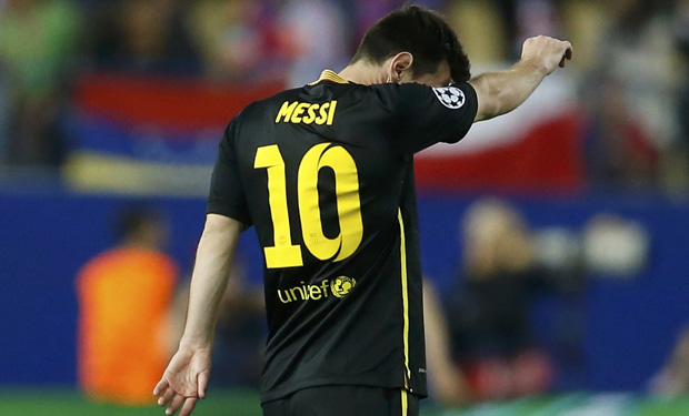 Barcelona's Messi reacts during his team's match against Atletico Madrid in their Champions League quarter-final second leg soccer match in Madrid